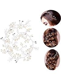 0c4eef941700 50cm Tocado Diadema para el Pelo de Novia Tiara Corona de Flores Mujer  Adornos Accesorios para