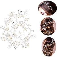 JNCH 50cm Haardraht Hochzeit Haarschmuck Haardraht Perlen Strass Brautschmuck Braut Haarkamm Haarschmuck Kommunion Kopfschmuck Kopfabdeckung für Frauen und Mädchen