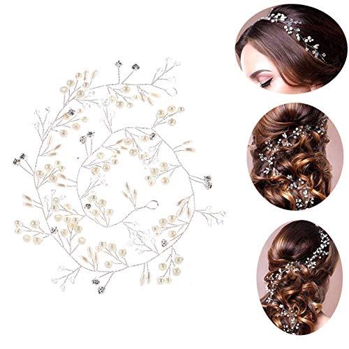 50cm Tocado Diadema para el Pelo de Novia Tiara Corona de Flores Mujer Adornos Accesorios para el Cabello para Boda Fiesta Velada