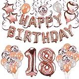 Howaf Oro Rosa 18 Anni Compleanno Decorazioni per Ragazza Donna, 59 Pezzi Palloncini Oro Rosa Festone di Palloncini Compleanno Palloncini in Lattice coriandoli Palloncini e Pendenti a Spirale