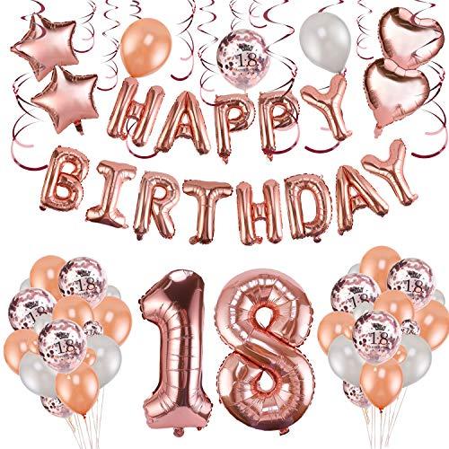 Howaf Rose Gold 18. Geburtstag deko für Mädchen und Jungen, 59 Stück Happy Birthday Girlande Banner Luftballons Set Helium Folie Herz Ballon für 18 Geburtstag Dekoration