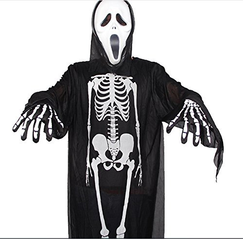 nster Skeleton Bone Dress Halloween Scary Night Long Sleeve Dress (Child Skeleton Bone Dress+ Mask) by Septven (Halloween Scary Skeletons)