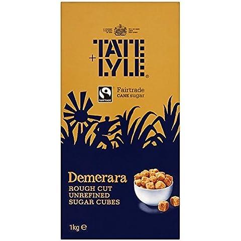Tate & Lyle Fairtrade azúcar de caña sin refinar Demerara Rough Cut Cubos del azúcar - 1 x 1kg