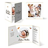 10 x Geburtskarten Babykarten Geburt Baby individuell Mädchen Junge - Federnkönig
