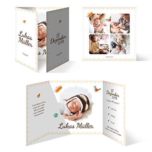 30 x Geburtskarten Babykarten Geburt Baby individuell Mädchen Junge - Federnkönig