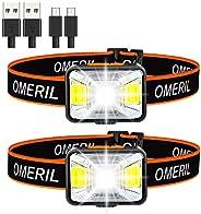 OMERIL Linterna Frontal LED USB Recargable, Linterna Cabeza Muy Brillante, 5 Modos de Luz (Blanco y Rojo), IPX