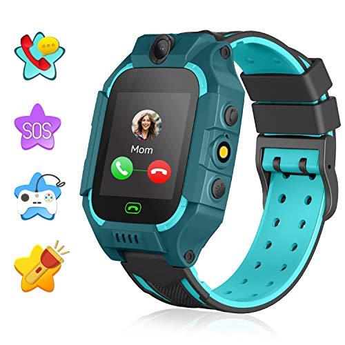 Kinder Smartwatch - Touchscreen Smart Watch Jungen Mädchen mit Anruf SOS Kamera Wecker Taschenlampe Lernspiele Spielzeug Uhr Kinder Geburtstagsgeschenke (Dunkelgrün)