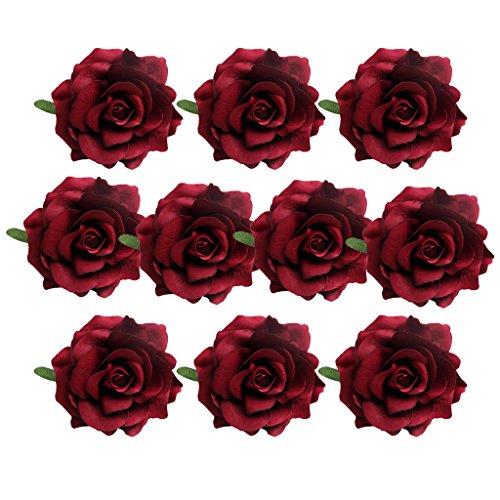 unstblumen Seidenblumen Blume Köpfe Handwerk Haus Hochzeit Party Dekoration Parteidekor - rose weinrot, wie beschrieben ()