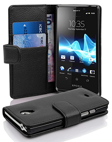 Cadorabo - Book Style Hülle für Sony Xperia T - Case Cover Schutzhülle Etui Tasche mit Kartenfach in OXID-SCHWARZ