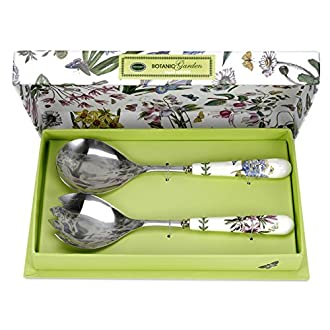 Portmeirion Home & Gifts BG1107 Coppia di Posate per Insalata, Porcellana, Multicolore
