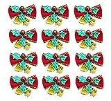Xunlong Weihnachten Cute Bow mit Glocken Mini Bowknot Hängende Dekoration Xmas rot Schleife Ornament Weihnachtsbaum Dekor 12 Stück (Grüne Glocke)