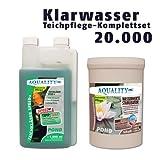 AQUALITY Klarwasser Teichpflege-Sparset 20.000 (GRATIS Lieferung innerhalb Deutschlands - Das perfekte Pflege-Set für einen schönen und klaren Gartenteich. Teichklärer + Wasserwerte Stabilisator - schnelle und nachhaltige Wirkung)