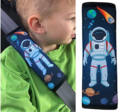 HECKBO® 1x Astronaut Weltall Space Auto Gurtschutz Sicherheitsgurt Schulterpolster Schulterkissen Autositze Fahrrad Fahrradsitz Gurtpolster für Kinder Jungen Jungs