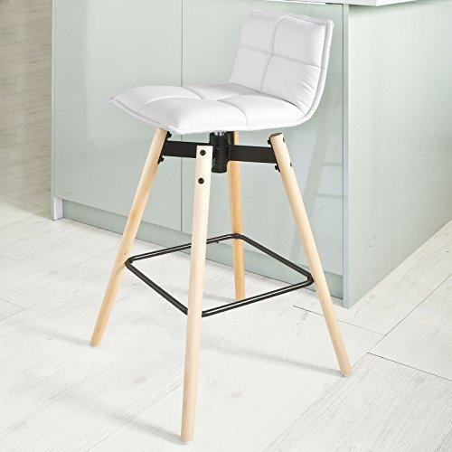 SoBuy® Sgabello alta da Bar con poggiapiedi,Sedia girevole,in legno di faggio,bianco, FST45-W,IT