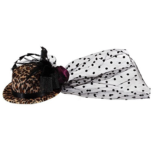 Hairwear marrone stampa animale cappello con Clip