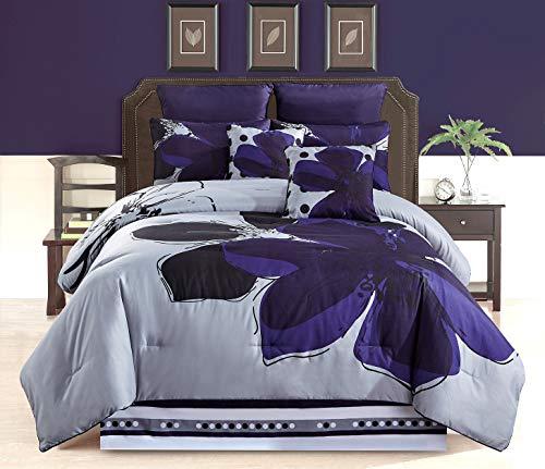 Bettwäsche-Set, 6- und 8-teilig, Marineblau, Grau, Schwarz, Blumenmuster, Bettwäsche-Set für Doppelbett, King-Size, King-Size, King-Size-Bett und Cal Modern Full Navy Blue/Grey/Black -