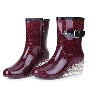 Scarpe moda donna di onda di sci stivali scarpe in tubo lato zip acqua scarpe zeppe scarpe stivali da pioggia , wine red , 37