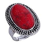 YAZILIND Tallado Rojo Oval de la Turquesa de Plata tibetana...