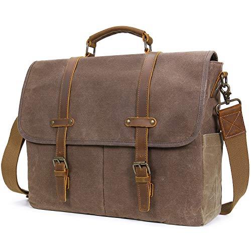 Lifewit 15.6 Zoll Laptop Tasche Umhängetasche Arbeitstasche Echtes Leder mit gewachstem Canvas unisex Aktentasche Ledertasche Messenger Bag Notebooktasche Schultertasche