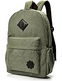 Canvas Backpack For School Travel Daypack Men And Women Bag Fits Up To 14 Inch Laptop (JON04-Navy Green)