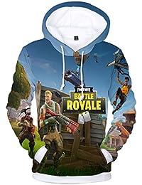EMILYLE Unisex Fortnite Game Scene Impreso Figura Hoodie Fortnite PVP Pullover Sudadera con Capucha para Hombres Niño