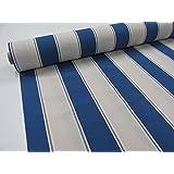 Metraje 2,45 mts tejido loneta estampada Ref. Rayas 80 Azul, con ancho 2,80 mts.