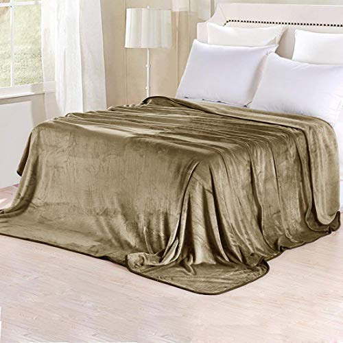 TASTELIFE Fleece-Decken für Doppelbett/Doppelbett, superweich, für alle Jahreszeiten, leicht, luxuriöse Mikrofaser-Decken für Bett Couch Sofa Sand Color - Sand Mikrofaser Sofa