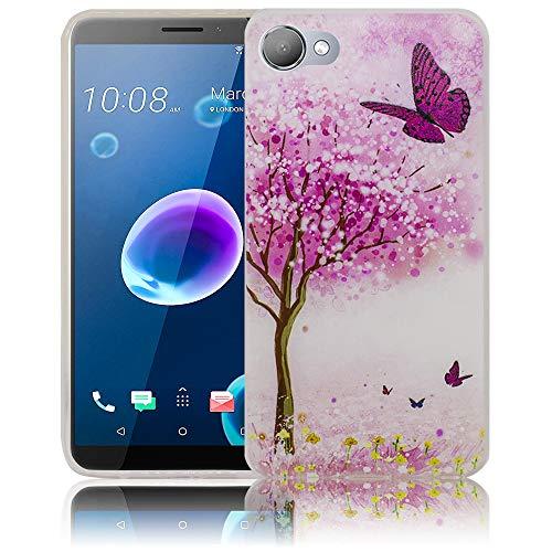 thematys Passend für HTC Desire 12 Kirschblütenbaum Schmetterling Handy-Hülle Silikon - staubdicht stoßfest & leicht - Smartphone-Case