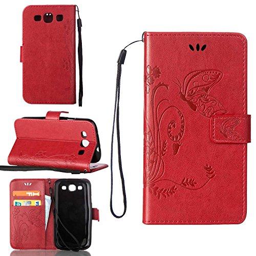 Guran Custodia in Pu Pelle Flip Cover per Samsung Galaxy Grand Neo i9060/Neo Plus Smartphone avere Portafoglio e Funzione Stent Modello Embossato di Farfalla Copertura Protettiva - rosso