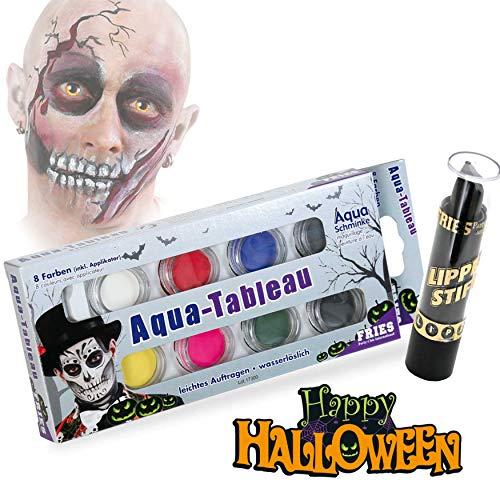 KarnevalsTeufel Halloween Schminkset Aquaschminkfarbe mit Zusatz nach Wahl Theaterschminke Spray (Schminkpalette & Lippenstift)