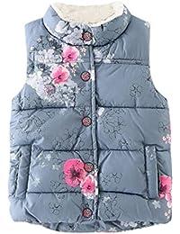 Mono Bebé, Amlaiworld Bebé chaquetas florales Niñas chaleco caliente ropa abrigo 2-7 Años