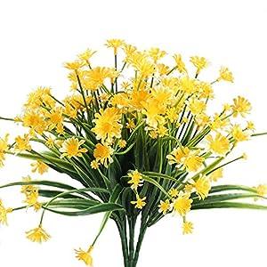 NAHUAA 4pcs Margarita Artificial Amarilla Arreglos Florales Artificiales Ramos de Plásticos Decoración Jarrones Ramo de DIY para Bodas Balcones Ventana Cocina Restaurante