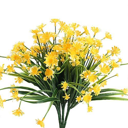 Nahuaa 4 pz fiori artificiali esterni giallo margherite bouquet composizioni fiori finti piante decorazioni primavera per cimitero matrimoni interni tavolo casa giardino balconi all'aperto