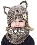Bestfort Winter-warme Coif Haube Schal-Kappen-Hut Gestrickte Wolleschal-Kappen-Hüte für Baby-Kinder Mädchen-Jungen Mütze Niedlich Strickmütze (Khaki)