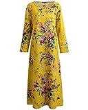 Romacci Damen Vintage Maxi Blumenkleid mit Langen Ärmeln Baumwolle Leinen Lose Kleid Dress, Gelb, XXL
