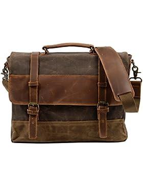 Neuleben Wasserdicht Laptoptasche für 15,6'' Laptop Vintage Schultertasche Umhängetasche Canvas Leder Herren Handtasche...