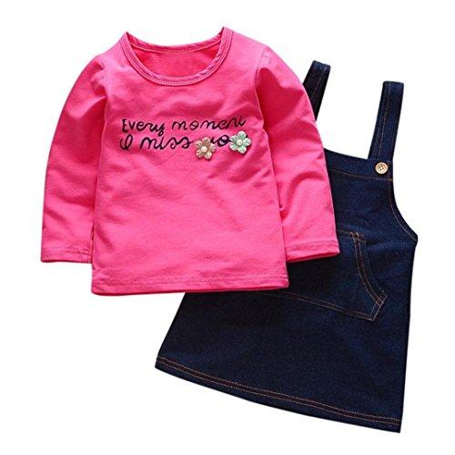 SHOBDW Girls Clothing Sets, Baby Girls Floral Print T-Shirt Tops + Denim Vest Skirt Toddler Kid Outfits Clothes (6-12 Months, Hot Pink)