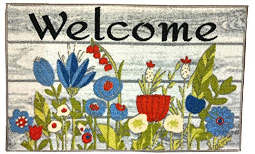 Nourison Floral Welcome Accent Teppich, Blumenmuster, 43 x 71 cm - Nourison Nourison Teppich Grau