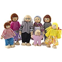 Wooden Furniture Dolls House Family Miniature 7 People Doll Toy Kid Child Toy