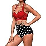Overdose 2pcs Damen Gekräuselter Druck Bikini Sets Frauen Hohe Taille Bikinis Bademode Swimuit Weibliche Retro Beachewear Bikini Set Beachwear Badeanzüge(Rot,L)