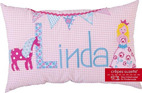 Crêpes Suzette Individualisierbares Namenskissen Modell\'Linda mit Prinzessin, Pferd und Wimpeln in rosa