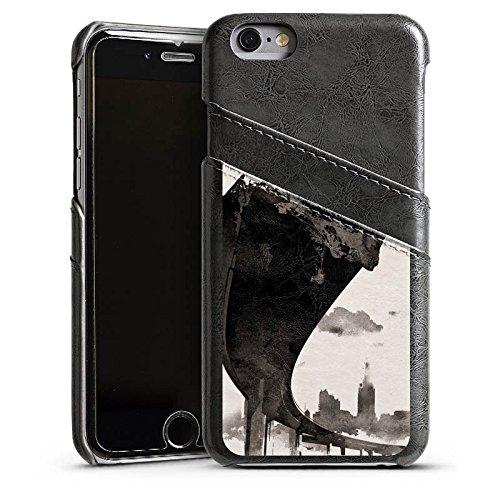 Apple iPhone 5 Housse étui coque protection Horizon Ville Art Étui en cuir gris