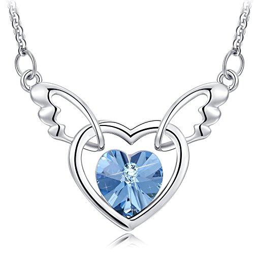 NEEMODA Kette Herz Anhänger Kristall Saphir-Blaue Halskette Engel Flügel Damen Schmuck Geschenke für Sie Frauen Geburtstag Jahrestag Valentinstag Weihnachten Muttertag