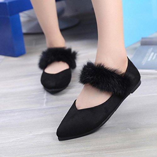 Longra Colore solido Moda Donna Tempo libero Flock Materiale superiore Capelli ornamentali scarpe a punta piatta a punta piatta Scarpe nude Nero