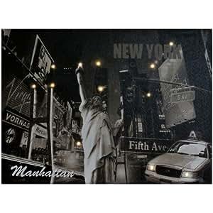 Tableau Toile Lumineuse 12 LED New York Avenue Statue de la Liberté Monument 38x28cm