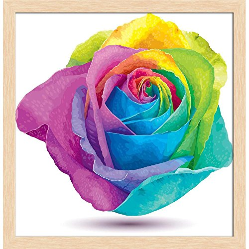 ArtzFolio Futuristic Colored Rose Canvas Painting Natural Brown Wood Frame 20 X 20.5Inch Rose Natural Wood