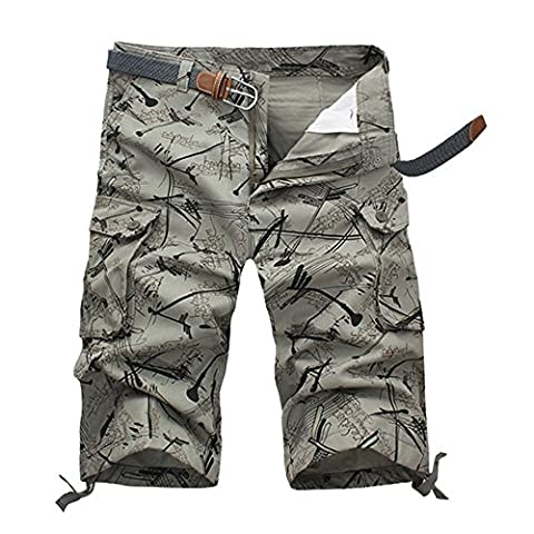 HAHOME DK15 Casual Military Shorts for Men Combat Cargo Short Pants with Multi Pockets (Light Army Green,42)