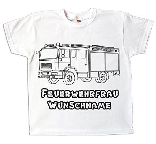 Kinder T-Shirt Mädchen mit Namen Individuell Bedruckt Feuerwehr Feuerwehrauto Zum bemalen und ausmalen mit Vordruck Kindergeburtstag Kindergarten (140) (Beliebtes Shirt Baumwolle Aus)