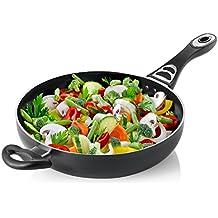 Chefs Star Hornillo de aluminio - Sartén con tapa de vidrio 4.6 Quart Saute Pan