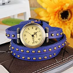 "Fashionable Luxury Stylish Coil Watch Hand Chain W/ Rivet Weave Wrap Leather Belt For Women, Ladies, Girls. Retro Design, 24"" Long, Genuine Leather, & Alloy Material - Purple"